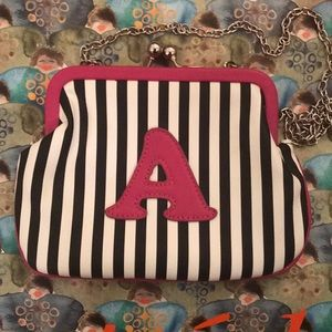 NWT: b/w strip purse